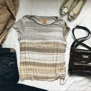 Ruby Rd Silver Tan Sparkly Ruched Scoop Top